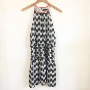 THML Black & White Ikat Print Halter Dress Size S